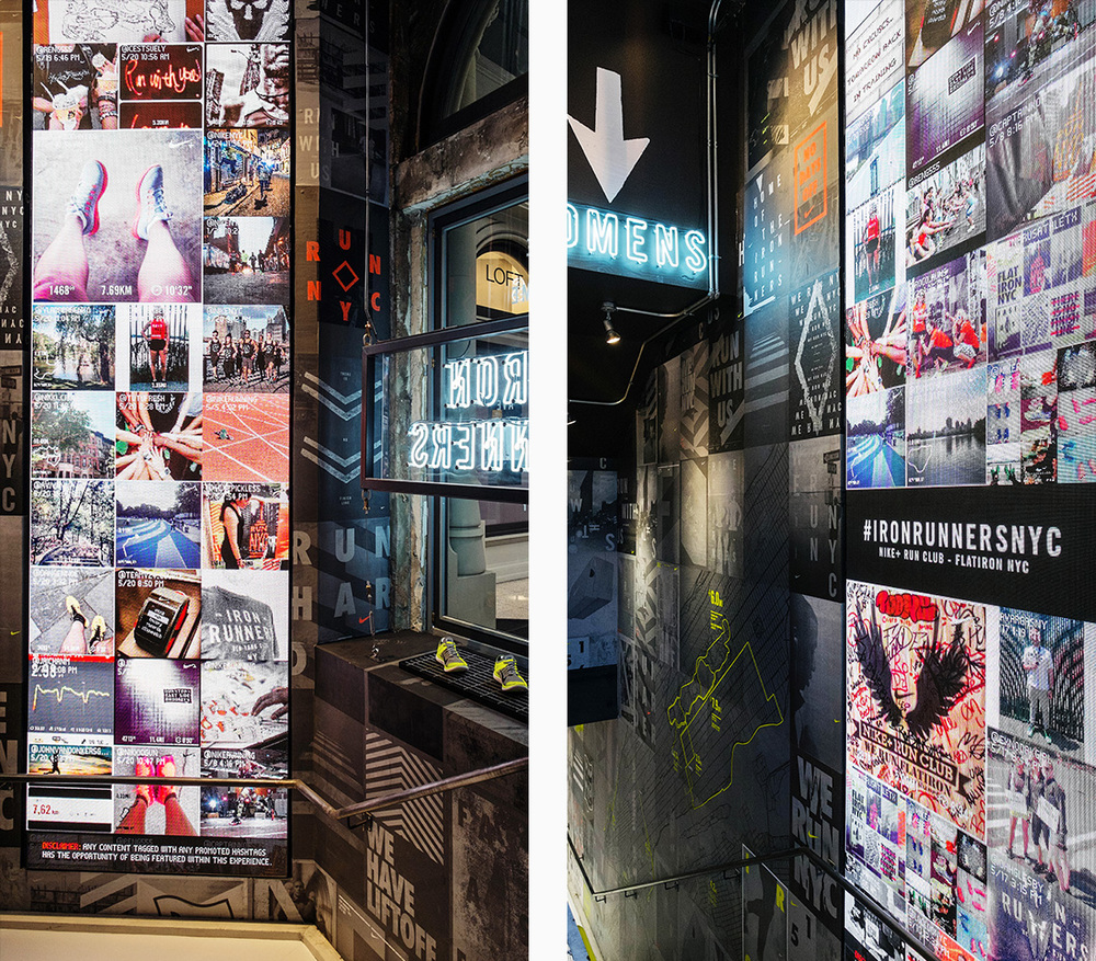 steady nike running flatiron store social wall